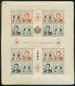 MONACO; 1951 MNH Red Cross Block - Sc 291b in Complete Sheetlet of 4 - Perf