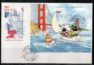 1991 BHUTAN  FDI FDC FIRST DAY COVER DISNEY  STAMPS    LOT 5517