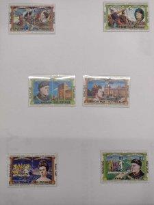 O) 1984 TUVALU, NUI, SPECIMEN, SE-TENANT, QUEEN ANNE, HENRY V, SCT 25-30, XF