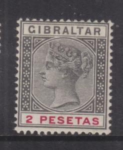 GIBRALTAR, 1896 2p. Black & Carmine, mnh., small thin at top.