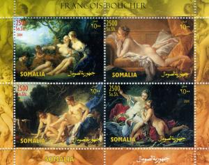 Somalia 2004 FRANCOIS BOUCHER Nudes Paintings Sheet (4) Perforated Mint (NH)