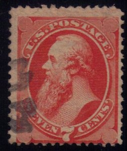 US Sc 160 Used 7c Org Vermilion Continental Banknote Co. F-VF
