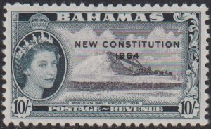 1964 Bahamas QE New Constitution 10/ issue MLH Sc# 199 CV $7.25