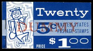 US #1213 DUMMY BOOKLET, complete book with DUMMY in red,  blank panes,  VF mi...