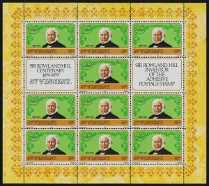 St Vincent 545-7 sheets MNH Rowland Hill, Stamp on Stamp