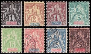 Guadeloupe Scott 27-31, 33-34, 37 (1892) Mint/Used F-VF, CV $20.30