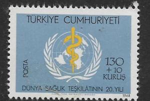 TURKEY, B124, MNH, WHO EMBLEM