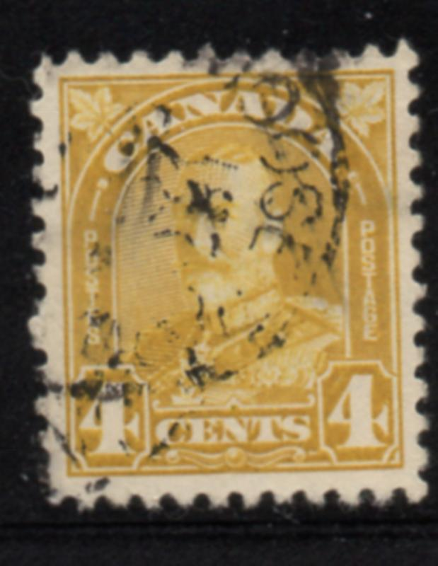 Canada Sc 168 1930 4c yellow bistre George V Arch issue stamp used
