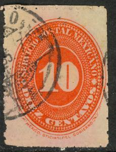 MEXICO 1894 10c Vermilion P.11x5 1/2 Numeral Issue Sc 240 Used