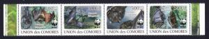 Comoro Is. WWF Livingstone's Fruit Bat Strip of 4v MI#2212-2215