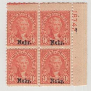 #678 Plate Block of 4 - 9c Nebr OG 1 Stamp NH Just Fine CV. $500 (JH 5/5/21) GP