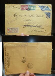 Costa Rica 3 Triangle Stamps + 2 more, Registered cover to Germany  (2bel)