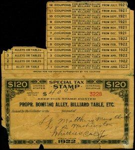 U.S. REV. STAX -PROP. BOWLING ALLEY FYE 1922  Used (ID # 61903)- L