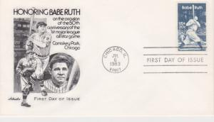 1983 BABE RUTH 20 Cent FDC, Artmaster