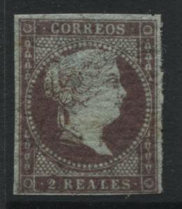 Spain 1855 2 reales reddish purple with 4 good margins cranked gum mint o.g.