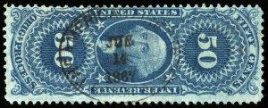 B622 U.S. Revenue Scott #R60c 50c Original Process 1867 insurance handstamp cxl