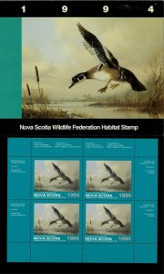 NOVA SCOTIA #3M 1994 WOOD DUCK CONSERVATION STAMP MINI SHEET OF 4 IN FOLDER