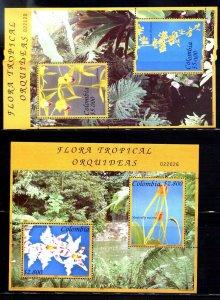#1986 COLOMBIA 2003 FLORA FLOWERS ORCHIDS SOUVENIR SHEETS YV BL 52-52C MNH