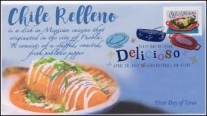 17-094, 2017, Delicioso, Chile Relleno, FDC, Digital Color Postmark,