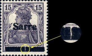 SARRE / SAARGEBIET - 1920 Mi.7.I 15pf O/P type 1 - variety I.PF.A - Mint*
