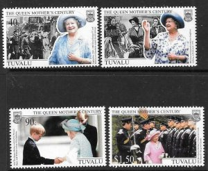 TUVALU SG846/9 1999 QUEEN MOTHERS 100th BIRTHDAY MNH