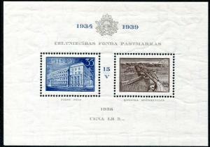 LATVIA-1939 President Ulmanis Minisheet Sg MS 293 UNMOUNTED MINT V30228