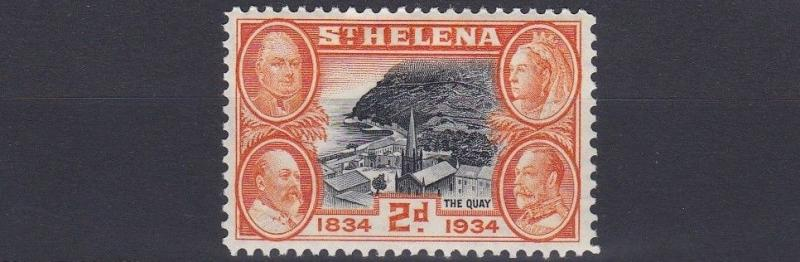 ST HELENA  1934   S G   117  2D  BLACK &  ORANGE       MH