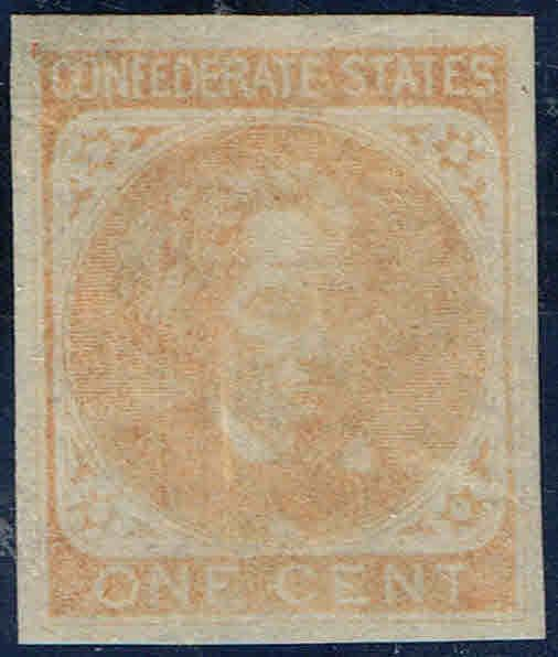 *CSA14 1862 CONFEDERATE STATES ISSUE MINT-OG/NH-PAPER FLAW-LITE CORNER CREASE.