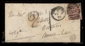England 1872 Britain Ontariao Canada Mourning Transatlantic Mail Cover 77459