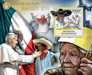 Central Africa - Pope Benedict XVI - Souvenir Sheet - 3H-343