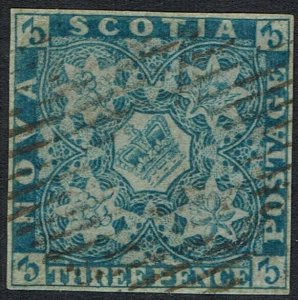 NOVA SCOTIA 1851 CROWN AND FLOWERS 3D IMPERF USED