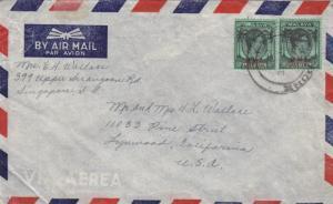 Singapore to Lynwood, CA, Airmail, BMA Overprints (18038)