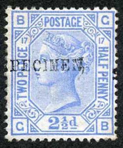 SG142 2 1/2d Blue plate 17 opt Specimen Mint (large original Gum) Cat 160 pounds