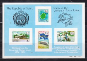 NAURU - 1974 CENTENARY OF UPU - MINIATURE SHEET MINT NH