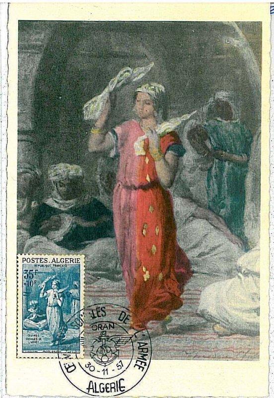 38740  - ALGERIA  - POSTAL HISTORY -  MAXIMUM CARD -  ART  1957