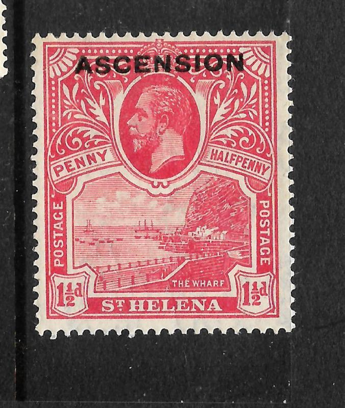 ASCENSION ISLAND  1922  1 1/2d   KGV  MLH  SG 3
