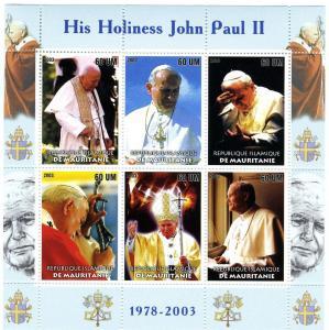 Mauritania 2003 POPE JOHN PAUL II Sheet (6) Perforated Mint (NH)