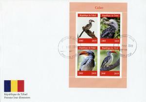 Chad 2019 FDC Calao Hornbills Hornbill 4v M/S Cover Birds Stamps