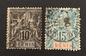 Benin 1894 #37-8, Used, CV $9.50