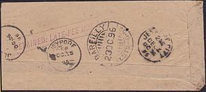 INDIA 1896 small cover DETAINED LATE FEE NOT PAID, Postage due..............6536