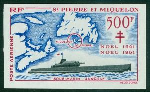 St. Pierre & Miquelon #C25 MNH Imperf CV€200 Submarine Christmas [132864]