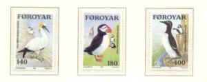 Faroe Islands Sc  36-8 1978 Sea Birds stamp set NH