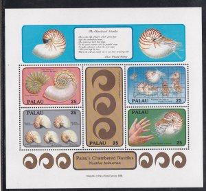 Palau # 203, Sea Shells - Chambered Nautilus, Souvenir Sheet, NH, 1/2 Cat.