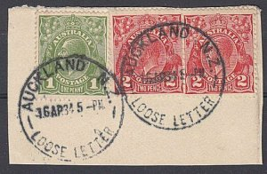 AUSTRALIA USED IN NEW ZEALAND 1934 AUCKLAND LOOSE LETTER cds on piece.......C627
