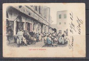 TUNISIA, 1902 ppc. Moorish Cafe in Haflaouine, 5c. Tunis to Austria.