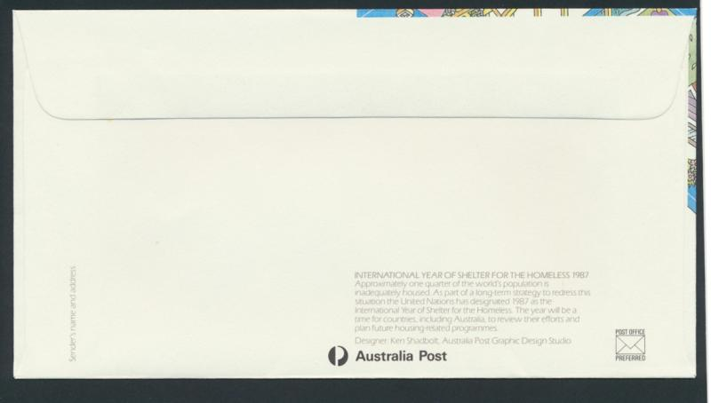 Australia PrePaid Envelope 1987  Int'l Year of Shelter for the Homeless