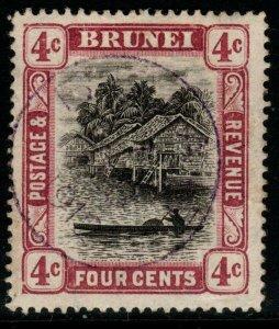 BRUNEI SG26a 1910 4c GREY-BLACK & REDDISH PURPLE FINE USED
