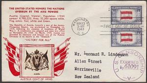 USA 1943 CROSBY photo FDC to New Zealand - Overrun Nations Austria.........55394