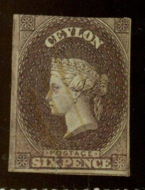 Ceylon #6A Used F-VF Cat$170