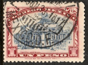 MEXICO 649, $1Peso PALACE OF FINE ARTS wmk USED VF. (408)